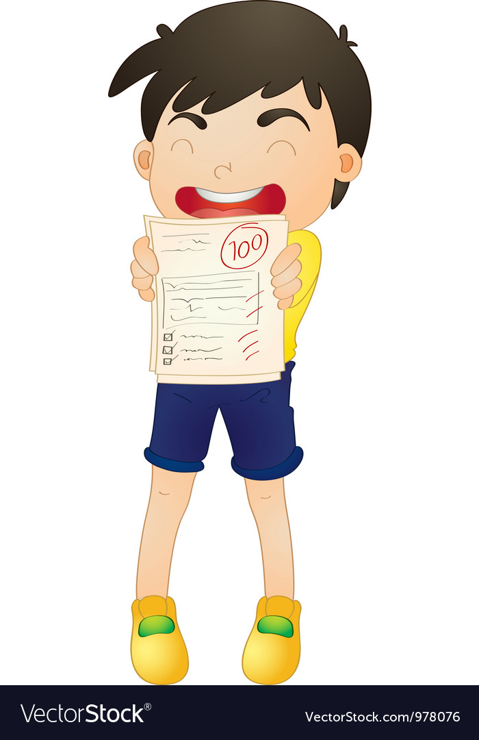 A boy showing marks vector | Price: 3 Credit (USD $3)
