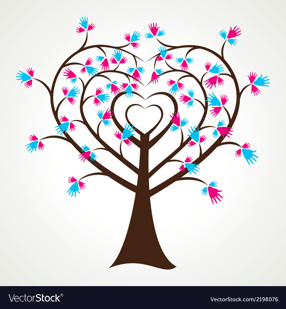 Abstract heart shape hand tree vector | Price: 1 Credit (USD $1)