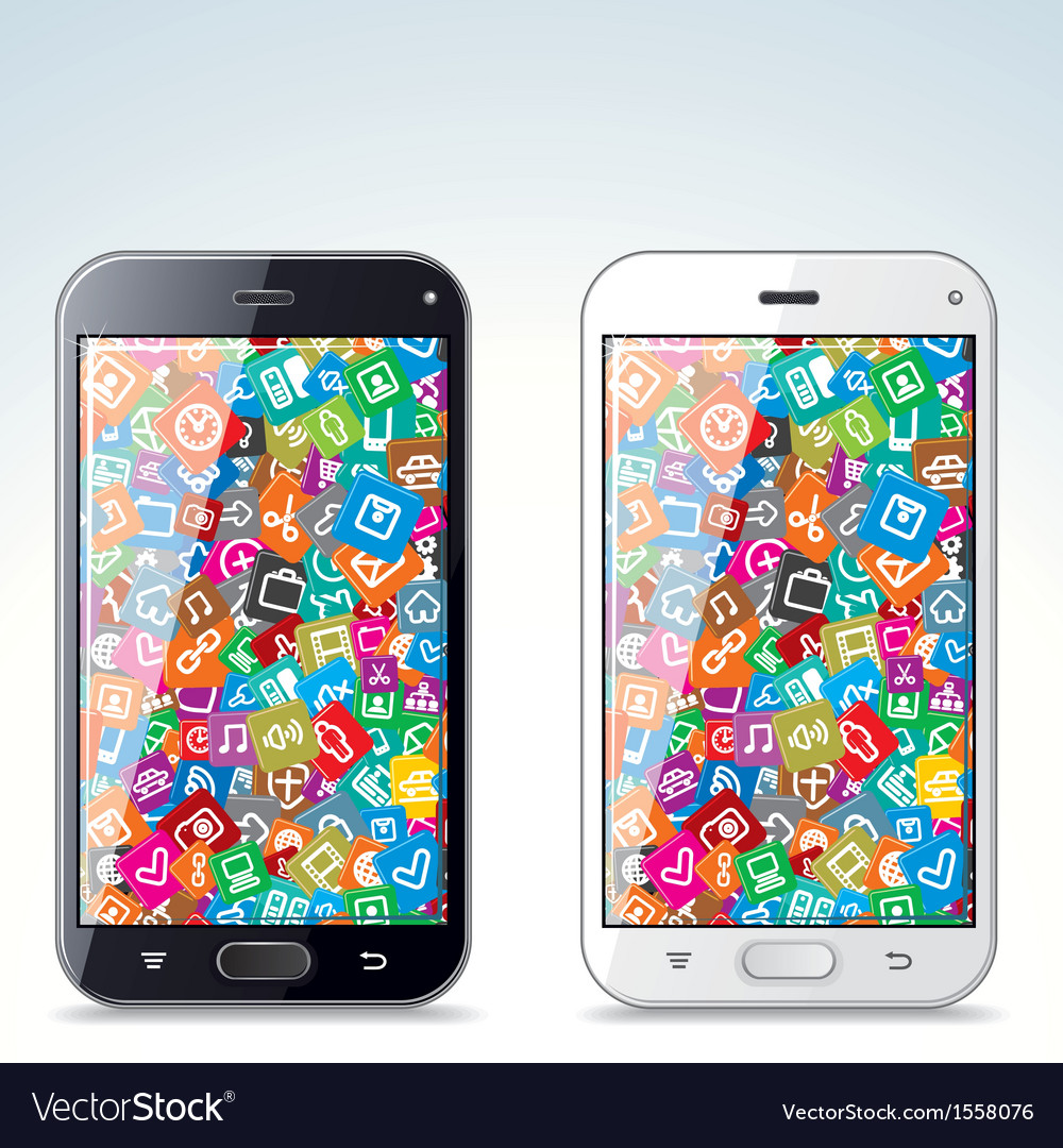 Black and white modern smart phone vector | Price: 1 Credit (USD $1)