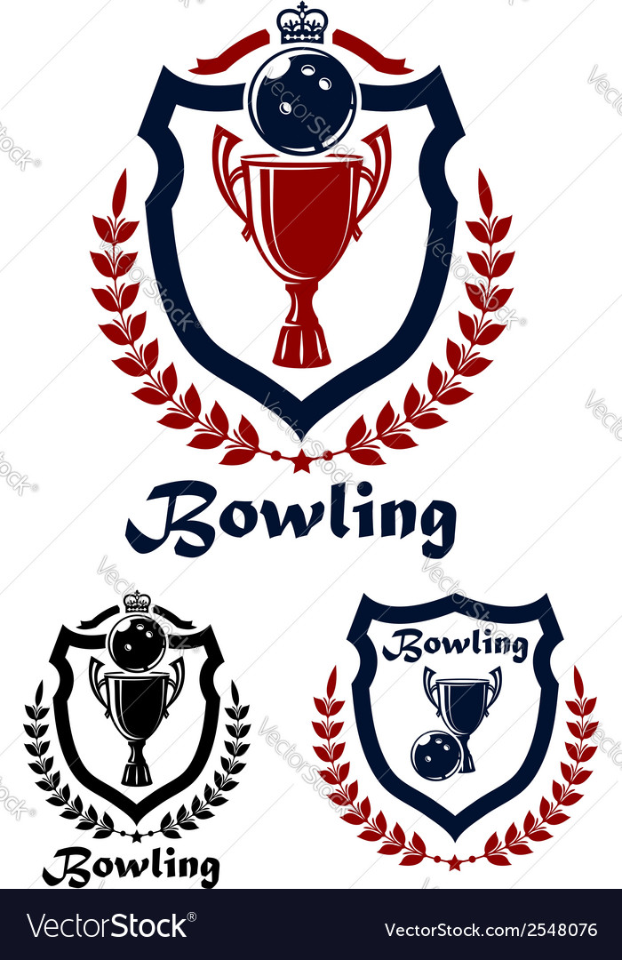 Bowling sport emblems and icons vector | Price: 1 Credit (USD $1)