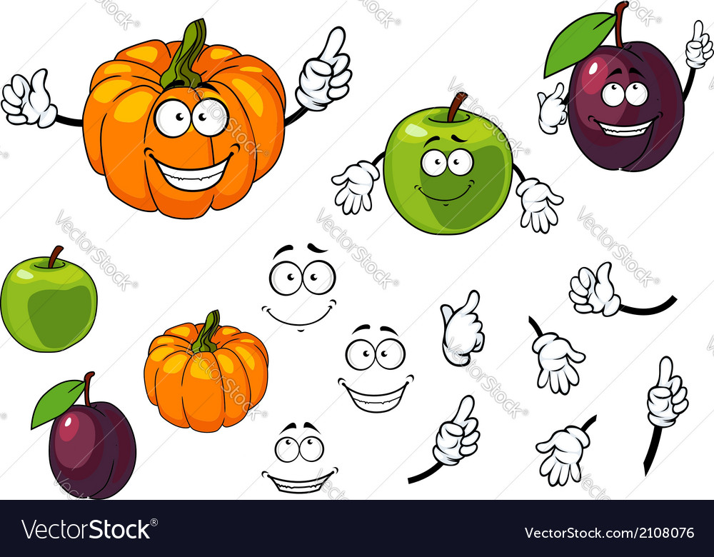 Cartoon pumpkin plum and apple vector | Price: 1 Credit (USD $1)