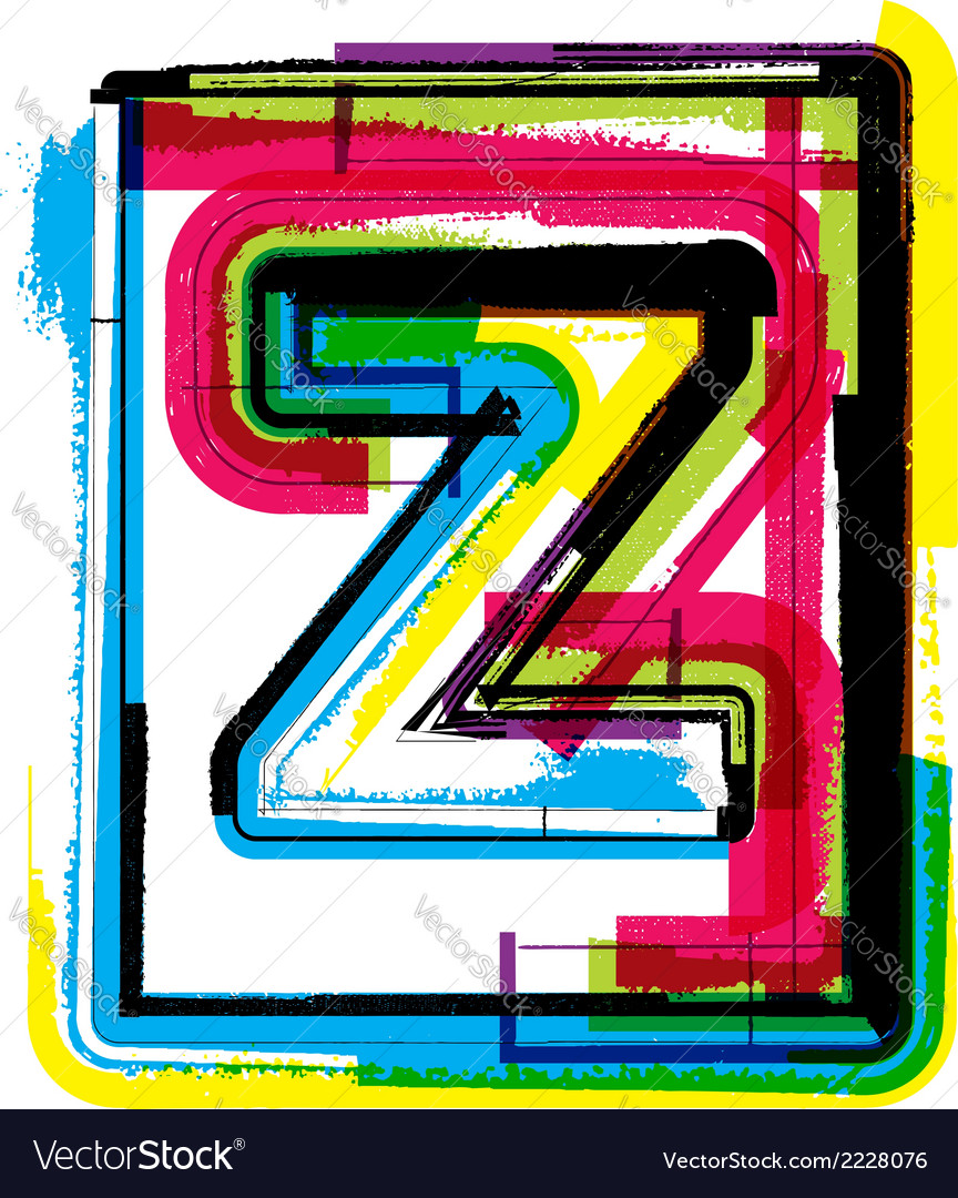 Colorful grunge font letter z vector | Price: 1 Credit (USD $1)