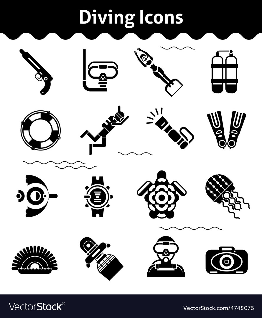 Diving icons black vector | Price: 1 Credit (USD $1)