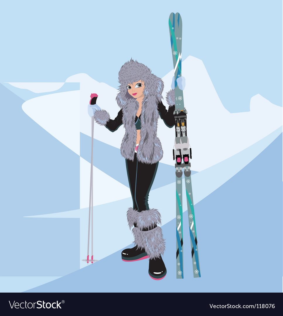 Girl snowboard vector | Price: 3 Credit (USD $3)