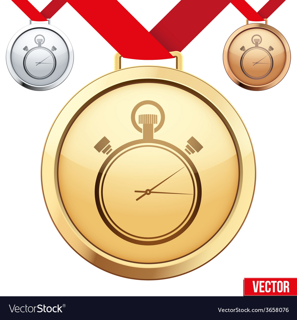 Gold medal with the symbol of a stopwatch inside vector | Price: 1 Credit (USD $1)