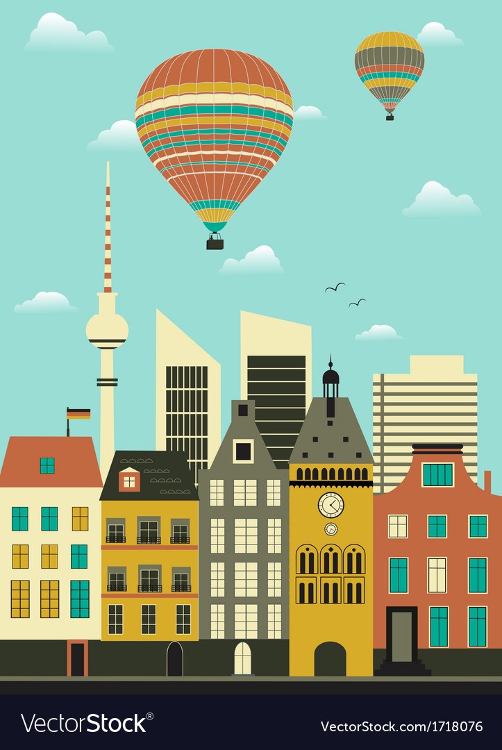 Hot air balloon over city vector | Price: 1 Credit (USD $1)