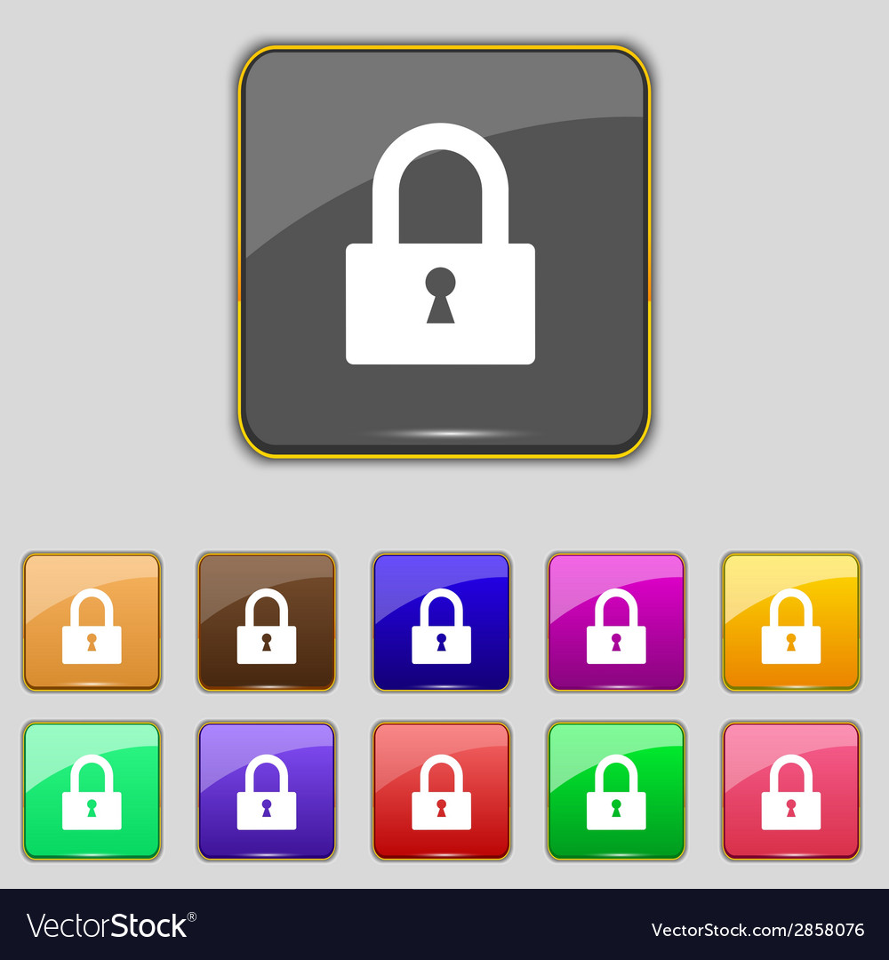 Lock sign icon locker symbol set colourful buttons vector | Price: 1 Credit (USD $1)