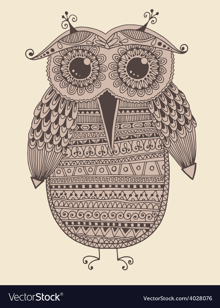 Original ethnic owl ink drawing vector | Price: 1 Credit (USD $1)