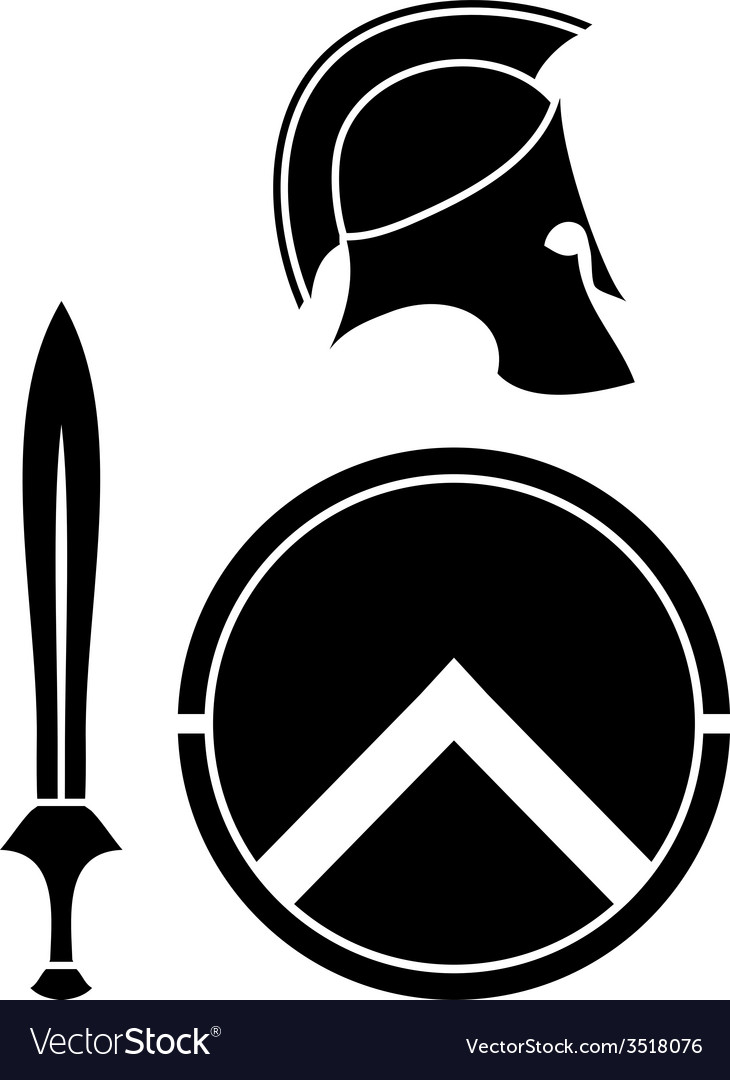 Spartans helmet sword and shield vector | Price: 1 Credit (USD $1)