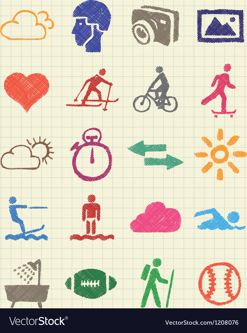 Sport web icons set drawn by color pencils vector | Price: 1 Credit (USD $1)