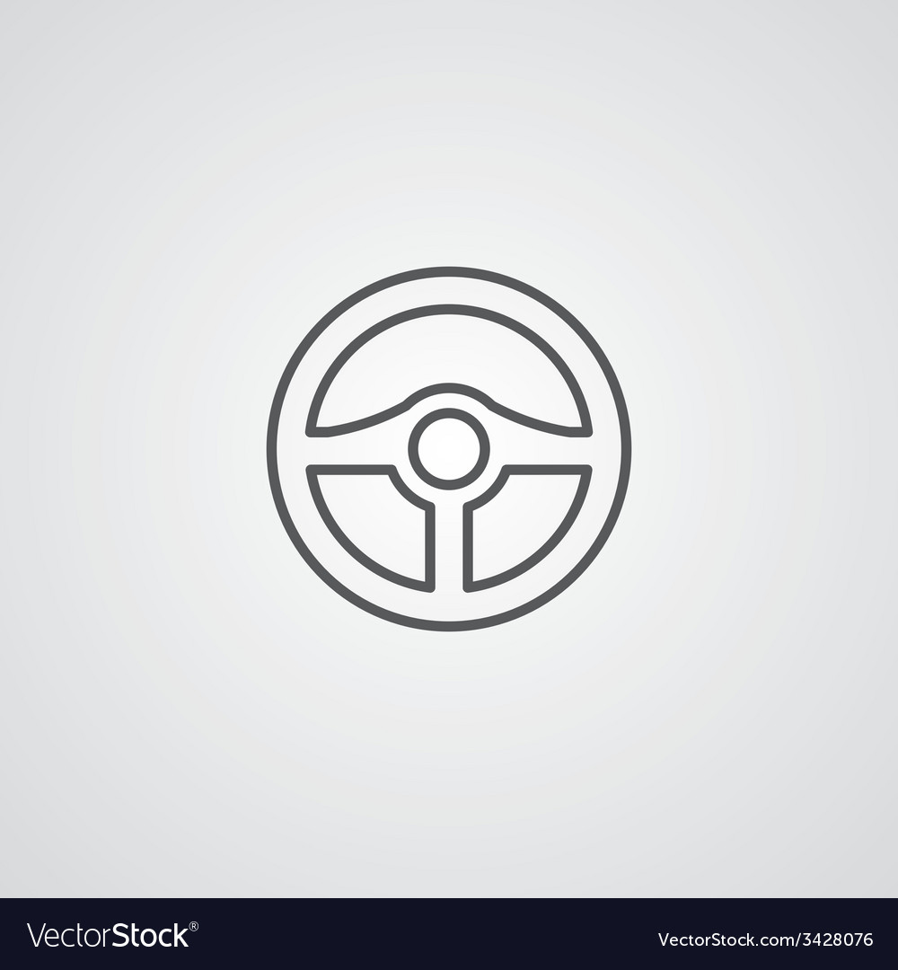 Steering wheel outline symbol dark on white vector | Price: 1 Credit (USD $1)