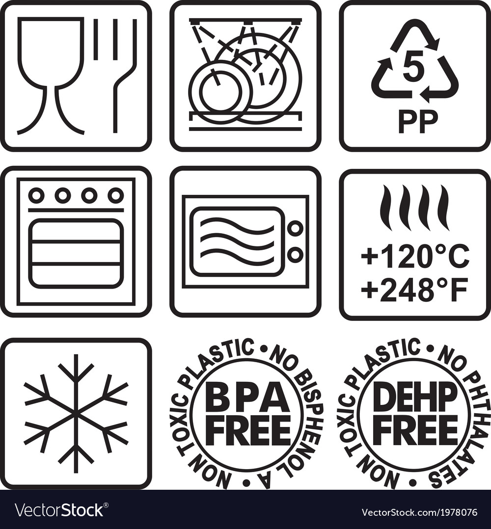 Symbols for marking plastic dishes vector | Price: 1 Credit (USD $1)