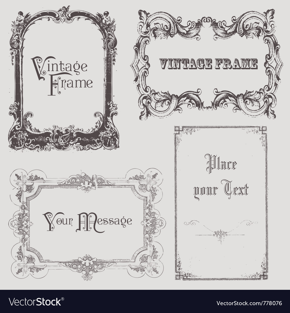 Vintage frames and design elements  with place fo vector