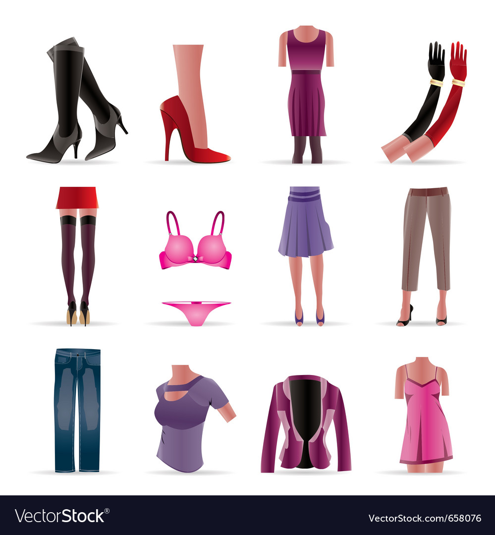 Woman and female clothes icons vector | Price: 1 Credit (USD $1)