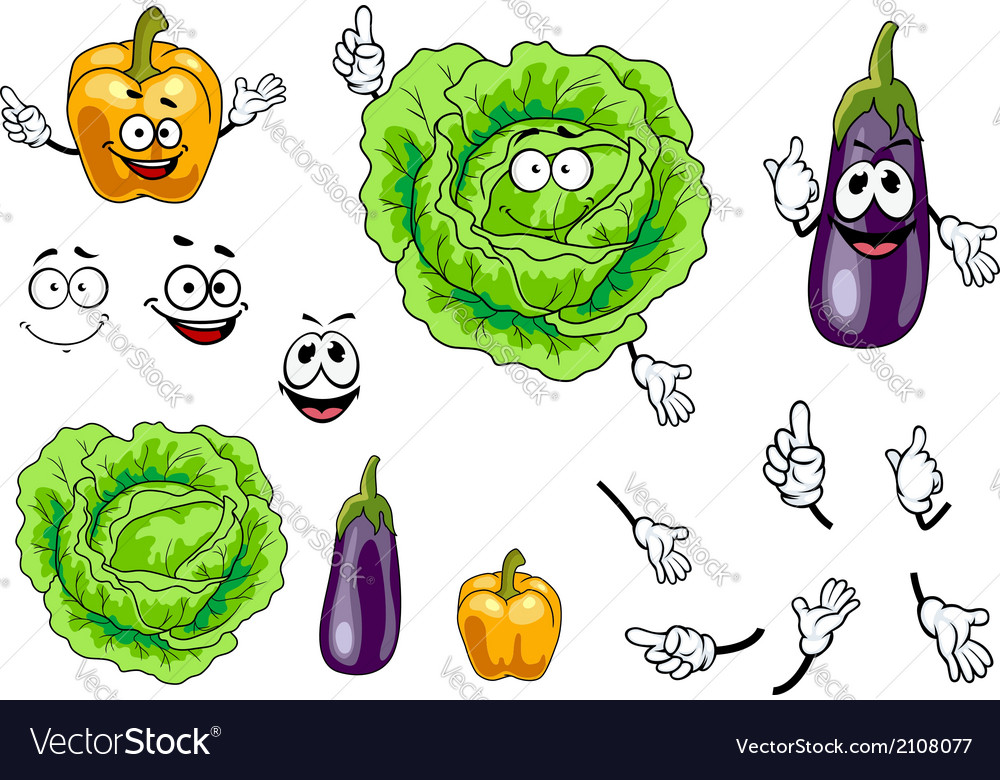 Cabbage pepper and eggplant vegetables vector | Price: 1 Credit (USD $1)