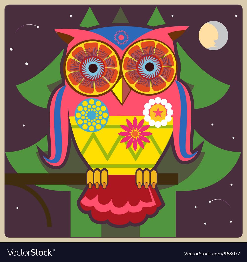 Cartoon owl night meditation vector | Price: 1 Credit (USD $1)
