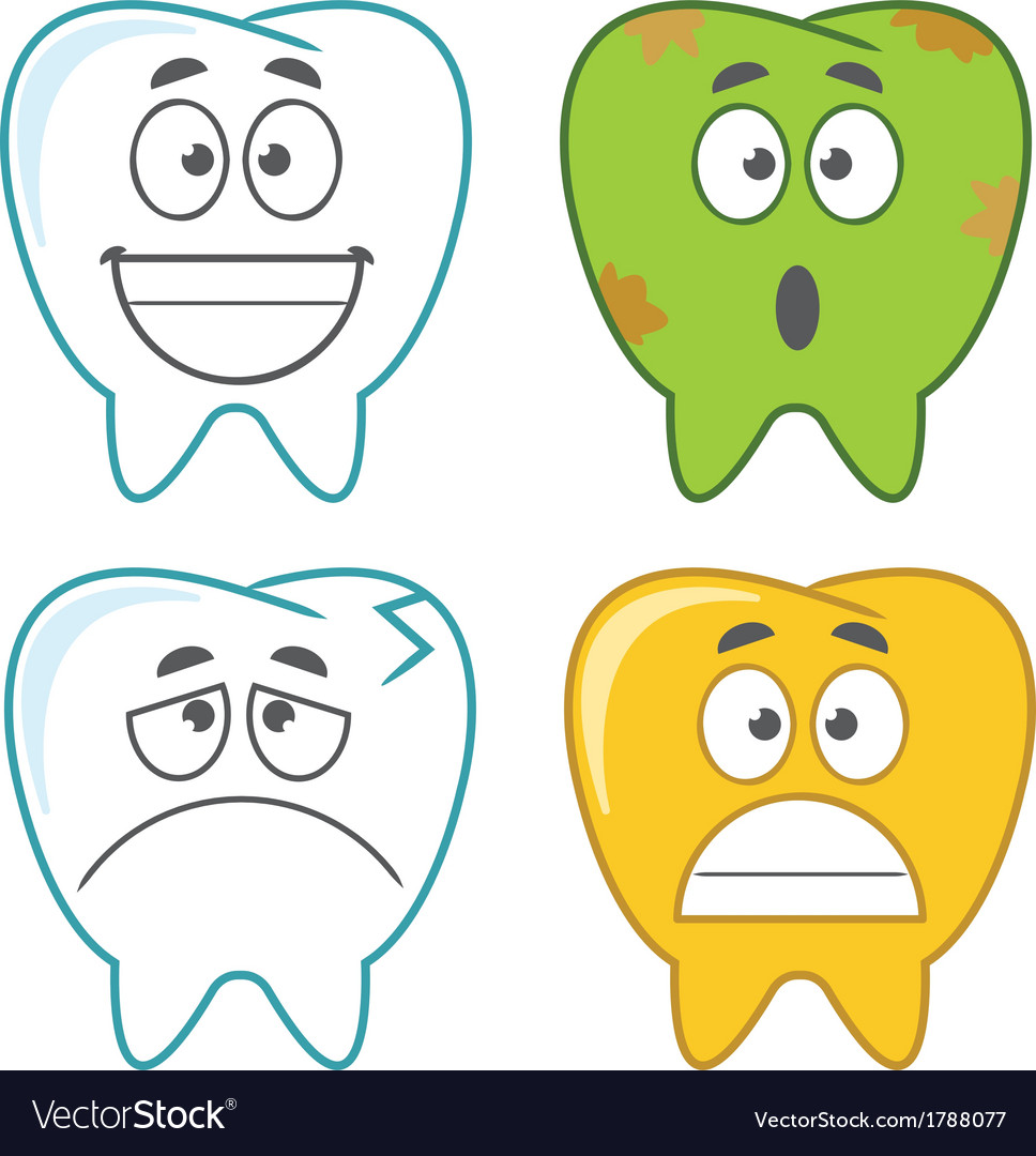 Cartoon tooth set - assorted vector | Price: 1 Credit (USD $1)
