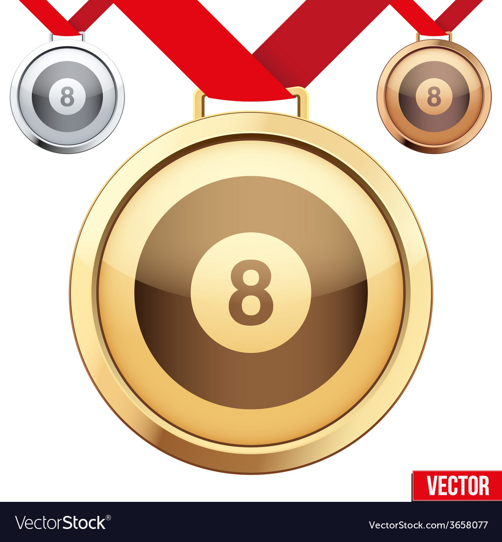 Gold medal with the symbol of a billiard inside vector | Price: 1 Credit (USD $1)