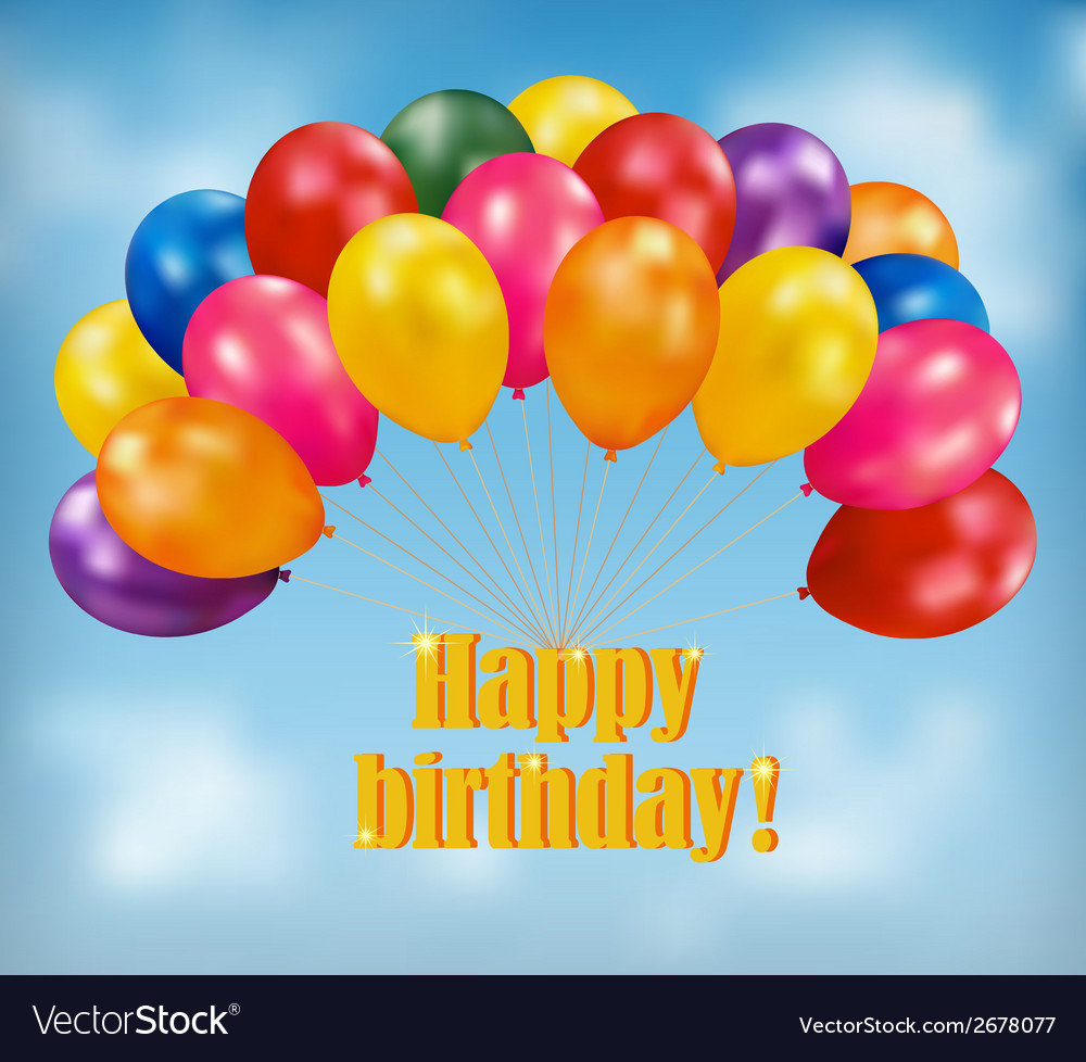 Happy birthday background with balloons vector | Price: 1 Credit (USD $1)