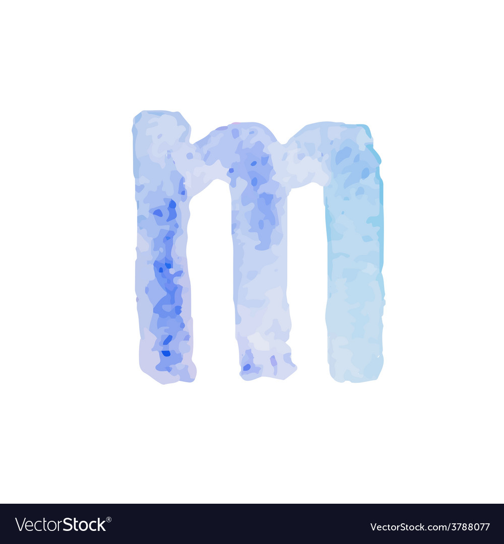 Letter m colorful watercolor aquarelle font type vector | Price: 1 Credit (USD $1)