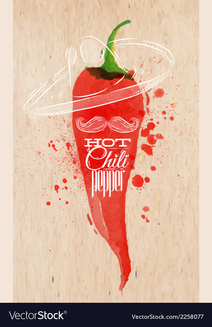 Poster watercolor hot chili pepper vector | Price: 1 Credit (USD $1)