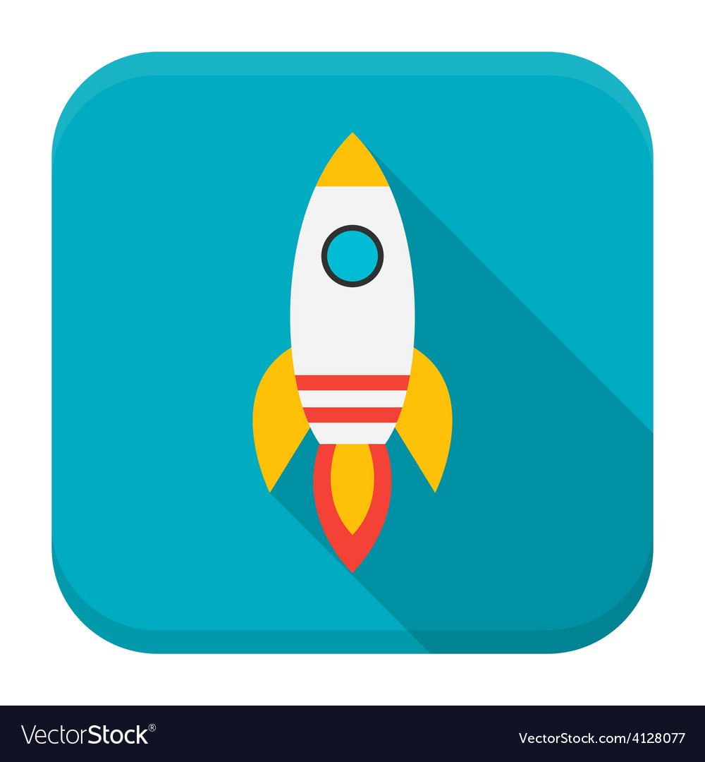 Rocket app icon with long shadow vector | Price: 1 Credit (USD $1)