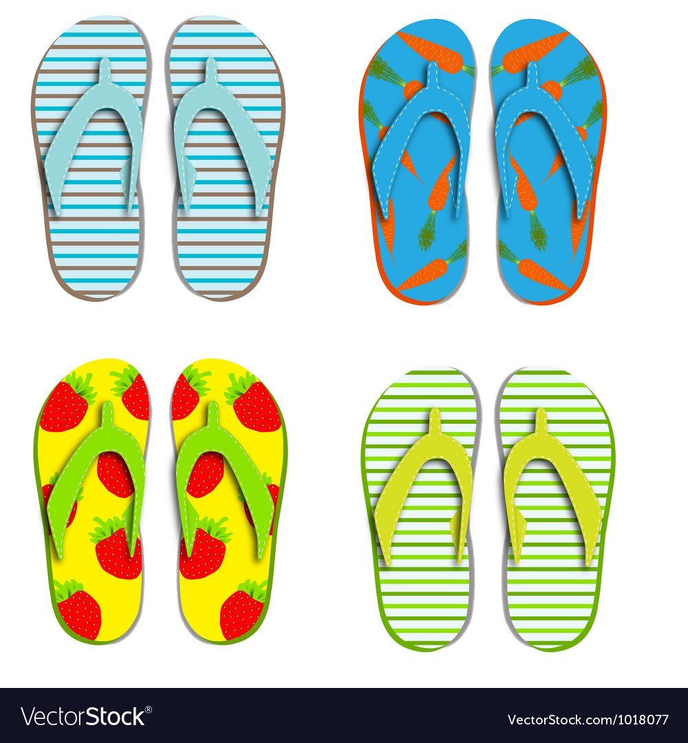 Set flip flops isolated on white background vector | Price: 1 Credit (USD $1)