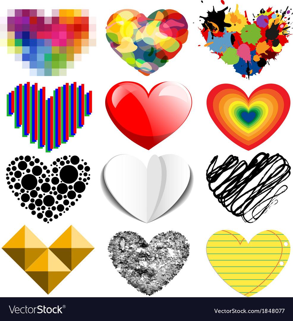 Set of twelve hearts vector | Price: 1 Credit (USD $1)