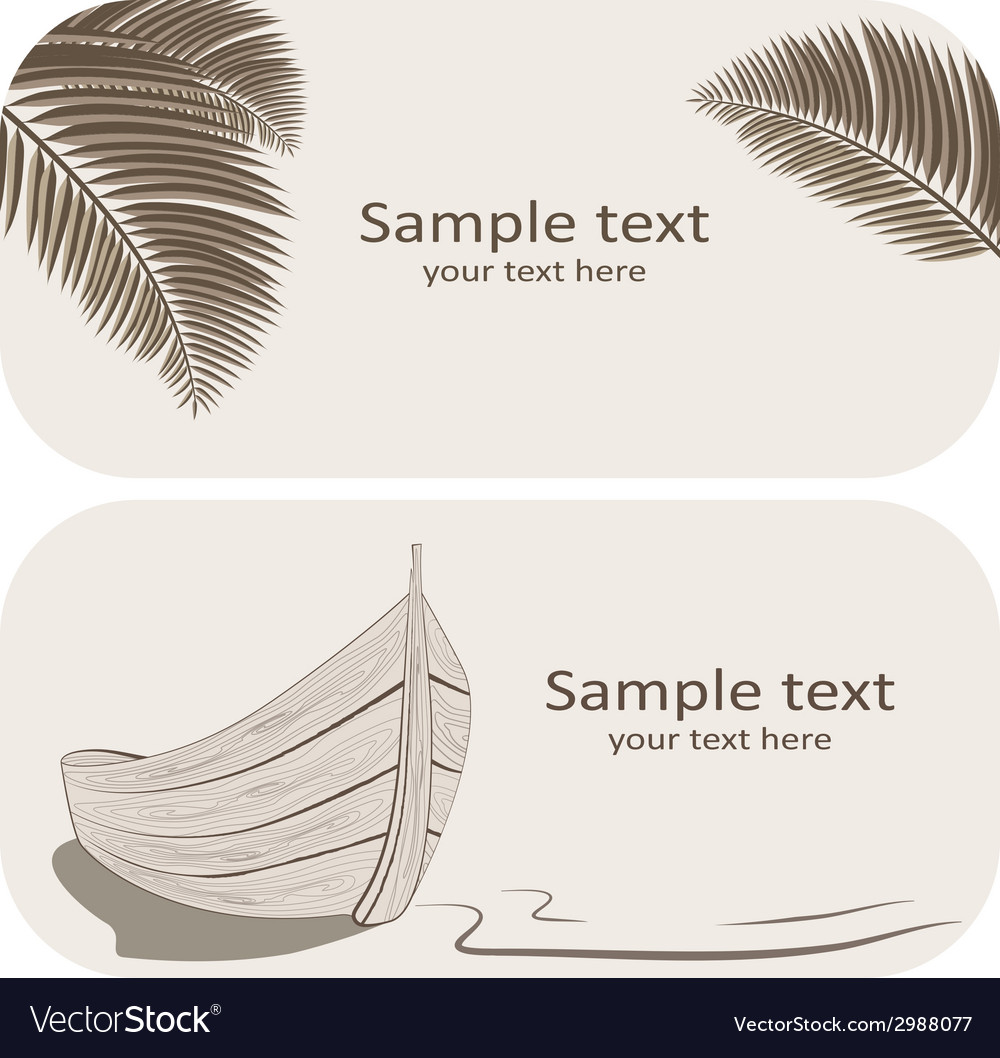 Wooden boat and palm leaves business cards set on vector | Price: 1 Credit (USD $1)