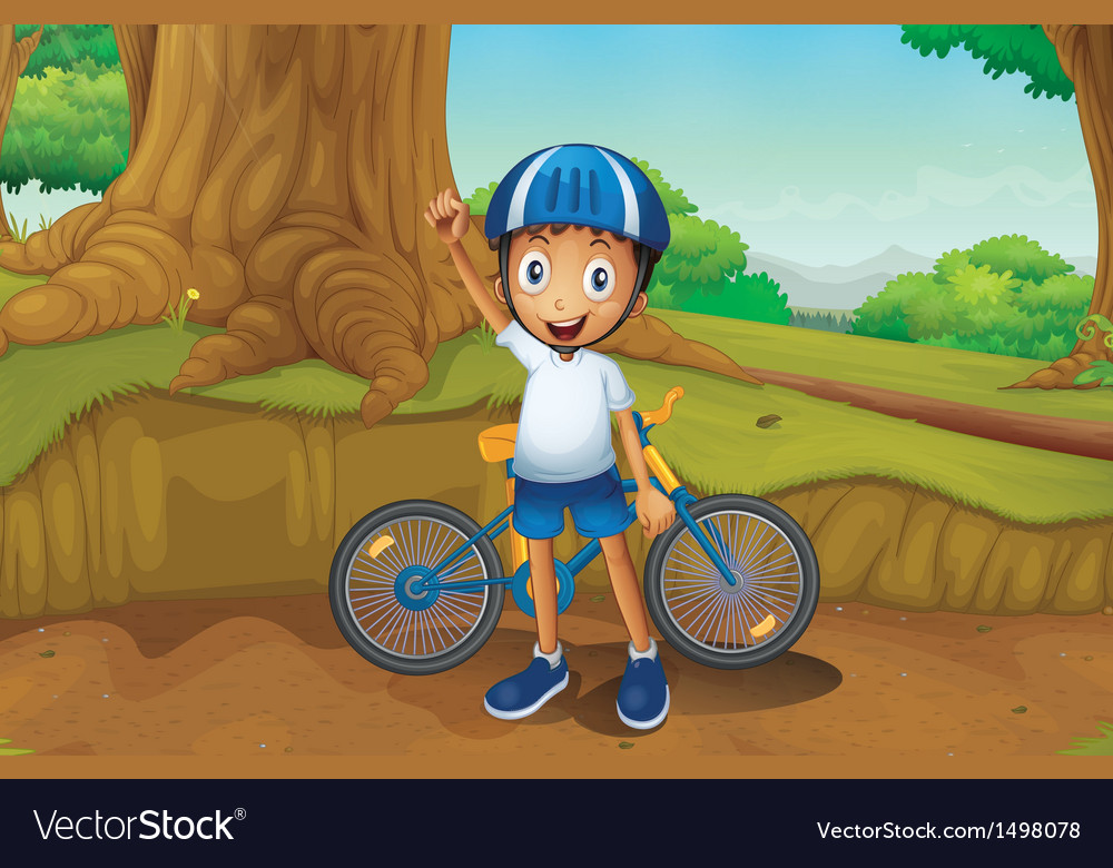 A young biker in the forest vector   Price: 1 Credit (USD $1)