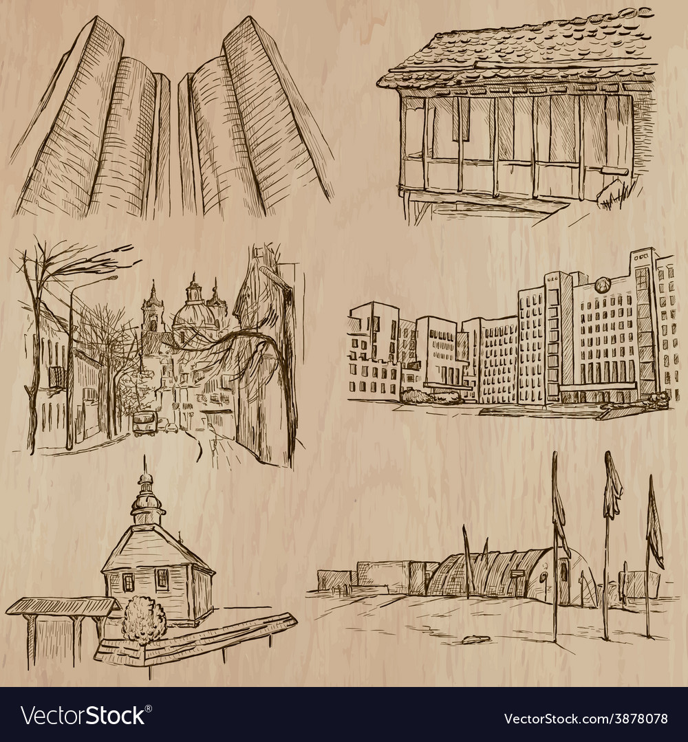 Architecture famous places - hand drawn vector | Price: 1 Credit (USD $1)