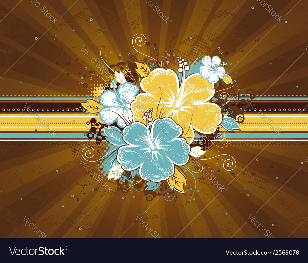 Bouquet of hibiscus on brown background vector | Price: 1 Credit (USD $1)