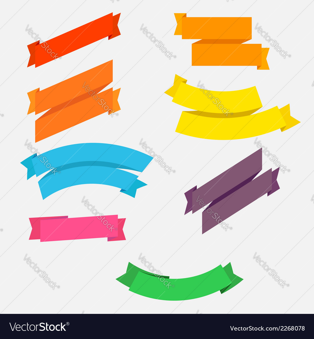 Bright colorful flat ribbons set vector | Price: 1 Credit (USD $1)