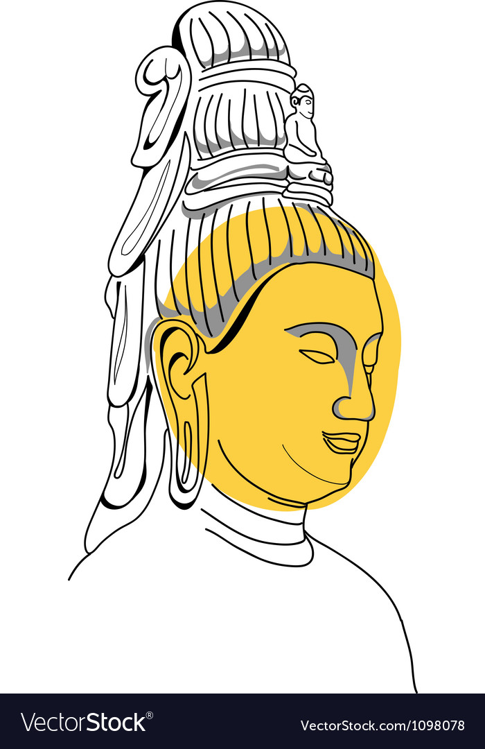 Face of buddha hand-drawn vector | Price: 1 Credit (USD $1)