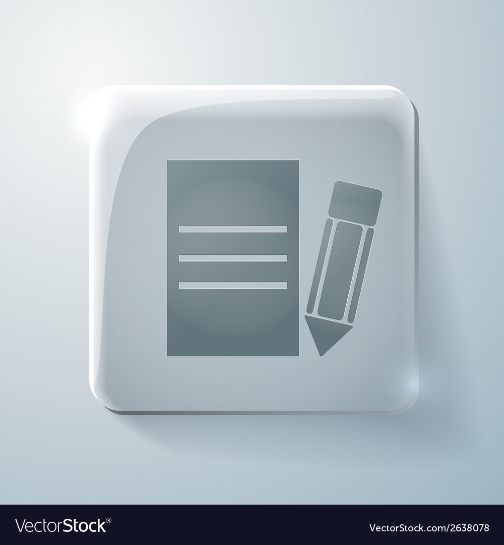 Glass square icon with highlights sheet of paper vector | Price: 1 Credit (USD $1)