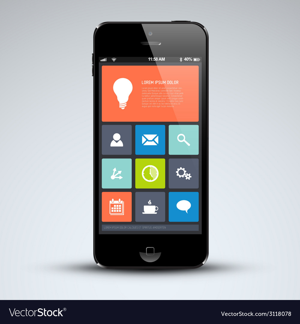 Modern mobile phone with flat user interface vector | Price: 1 Credit (USD $1)