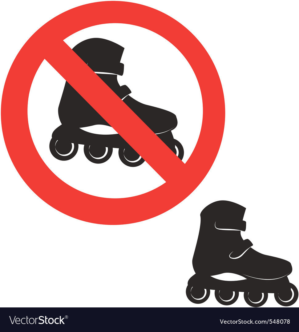 Prohibited sign roller skate icon vector | Price: 1 Credit (USD $1)