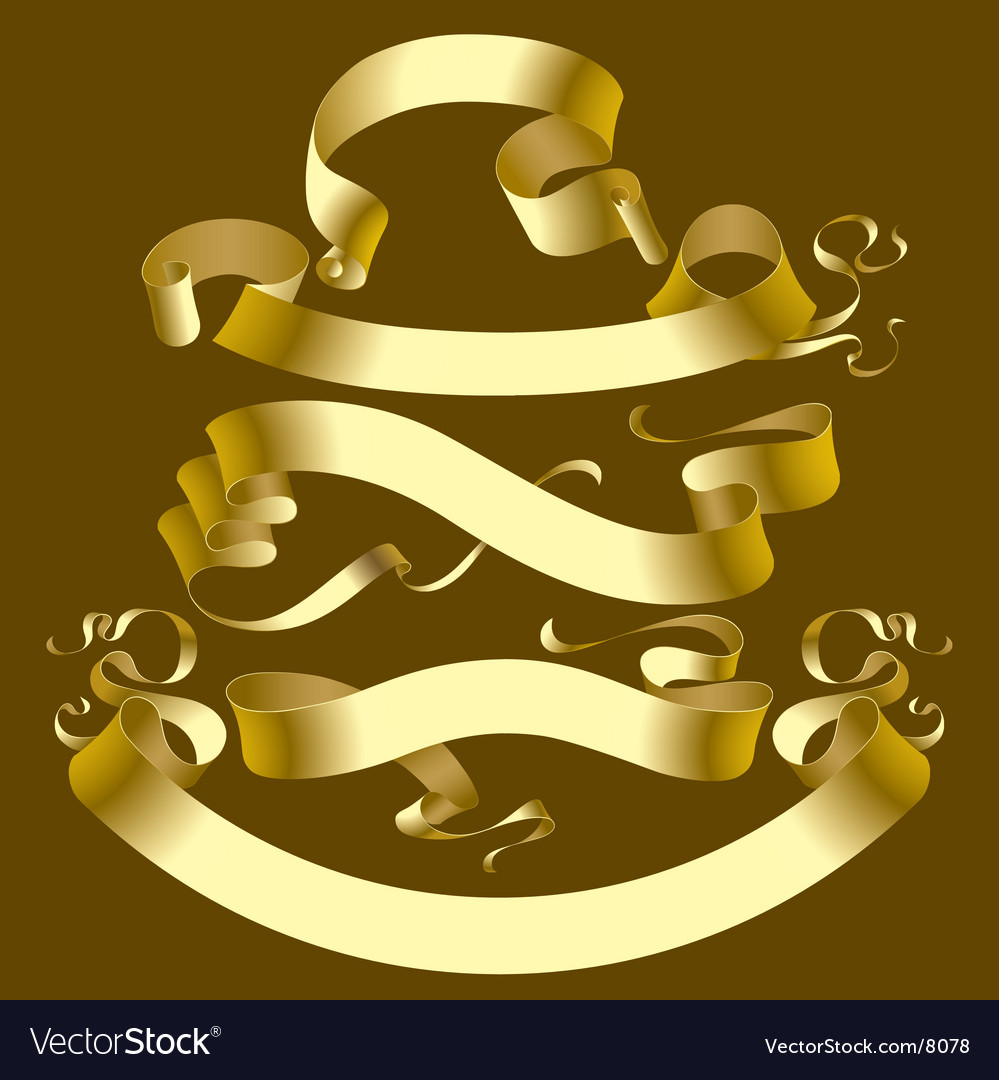 Set of gold banners vector   Price: 1 Credit (USD $1)
