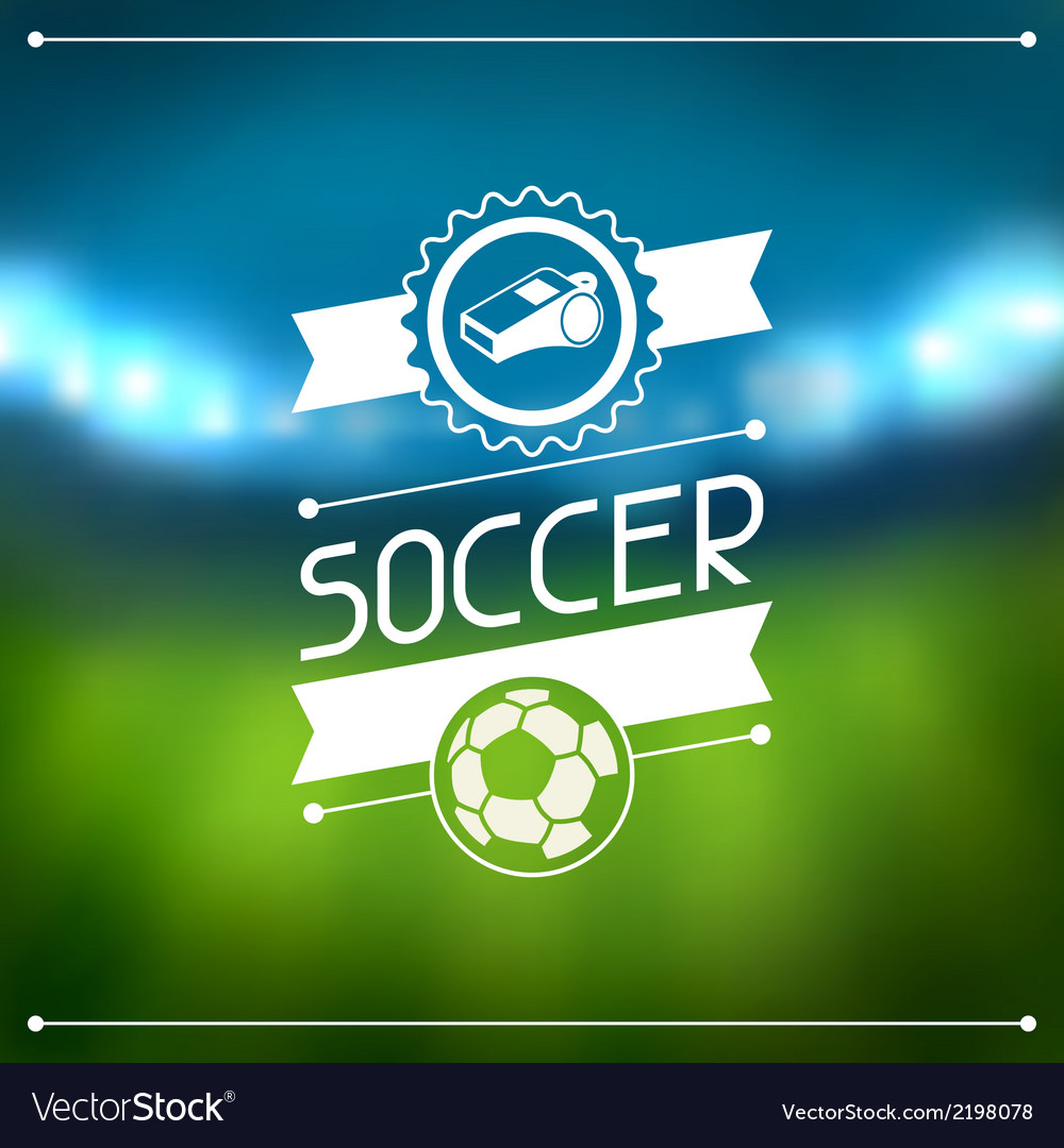 Sports background with soccer stadium and labels vector | Price: 1 Credit (USD $1)