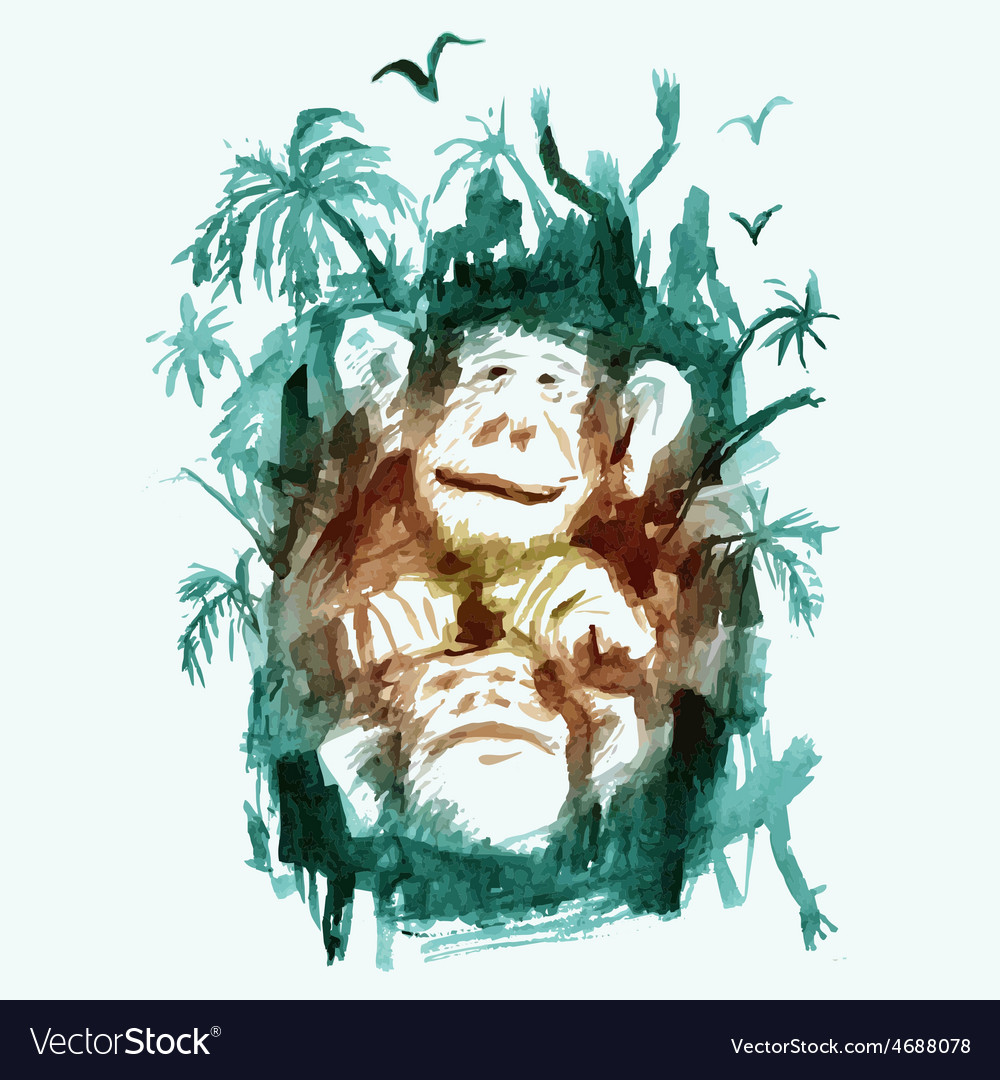 Watercolor monkeys in the jungle vector | Price: 1 Credit (USD $1)