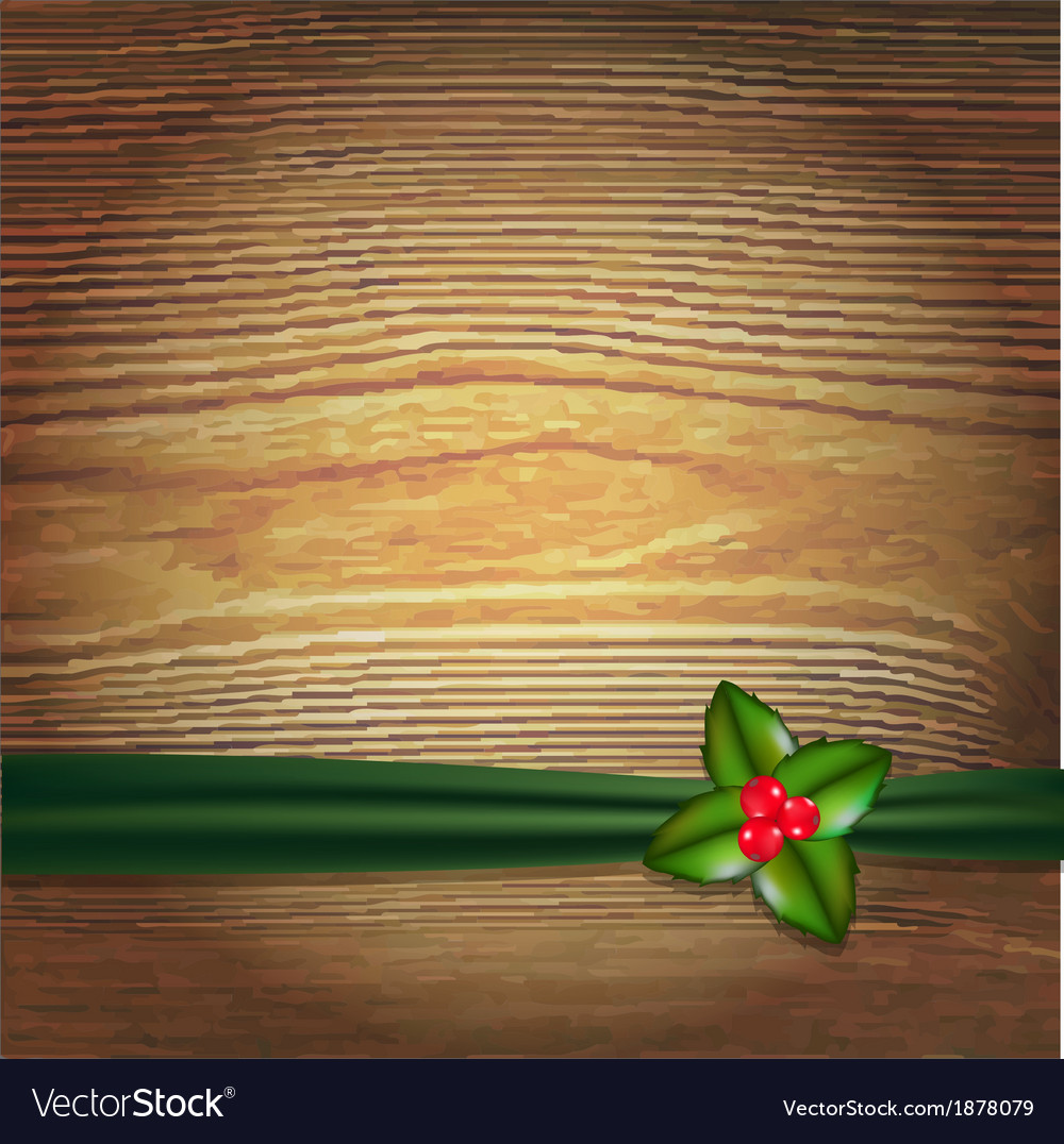 Christmas wood background with green ribbon and vector | Price: 1 Credit (USD $1)