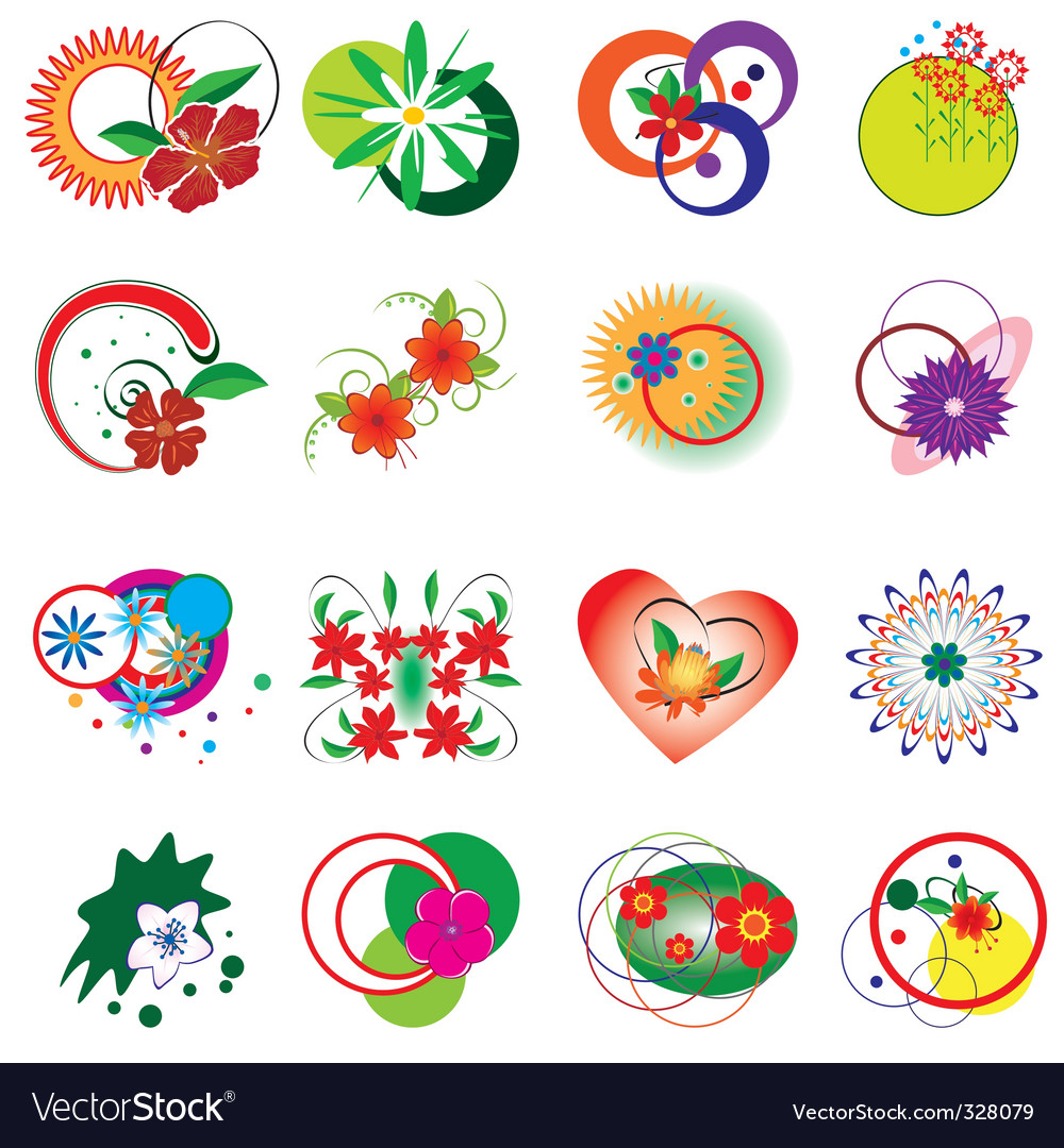 Collection of decorative floral elements vector | Price: 1 Credit (USD $1)