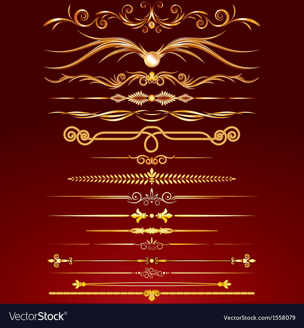 Collection of golden rule lines vector | Price: 1 Credit (USD $1)