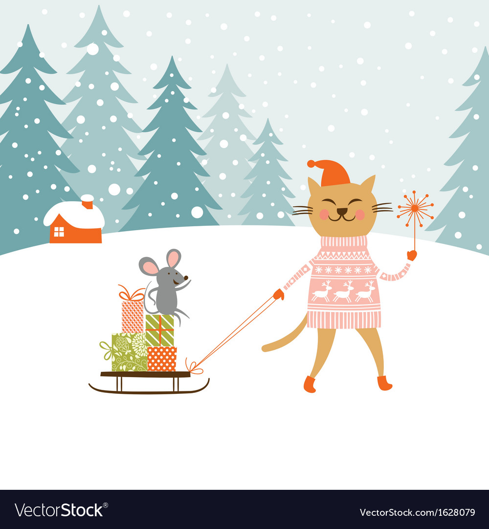 Cute kitty carries the sledge with gifts and littl vector | Price: 1 Credit (USD $1)