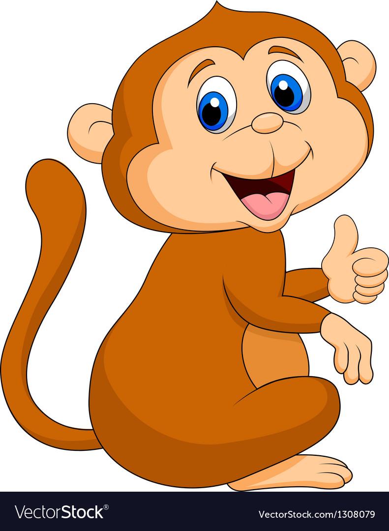 Cute monkey cartoon thumb up vector | Price: 3 Credit (USD $3)