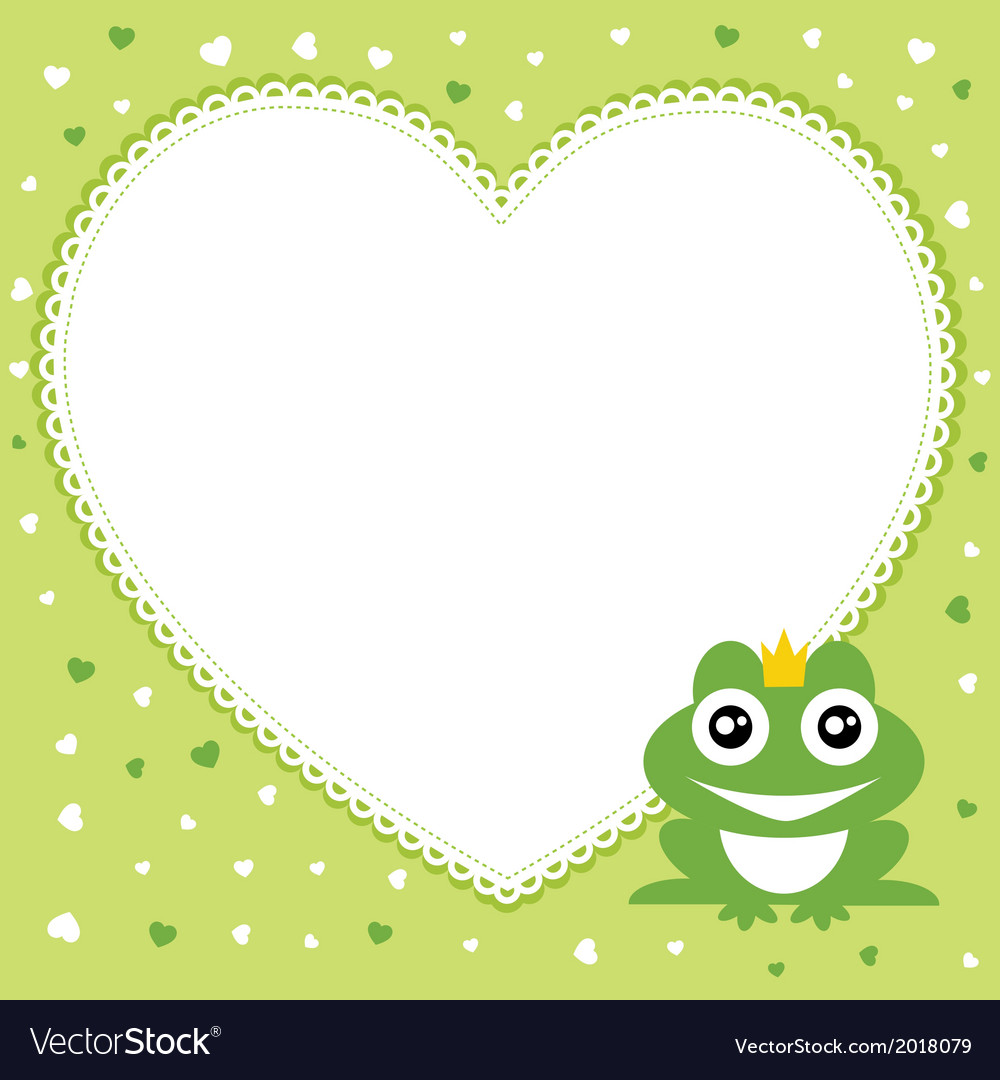 Frog prince with heart shape frame vector | Price: 1 Credit (USD $1)