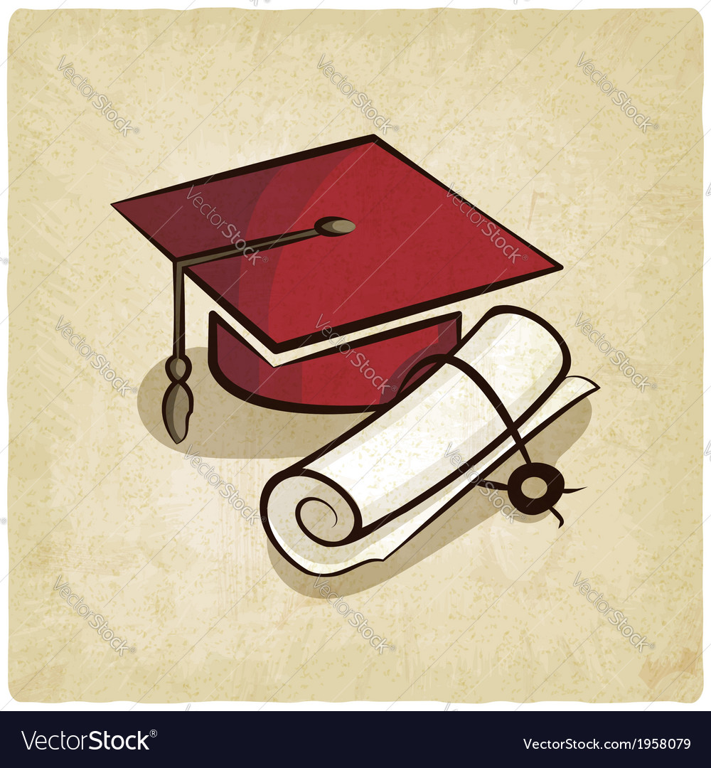 Graduation cap and diploma old background vector | Price: 1 Credit (USD $1)