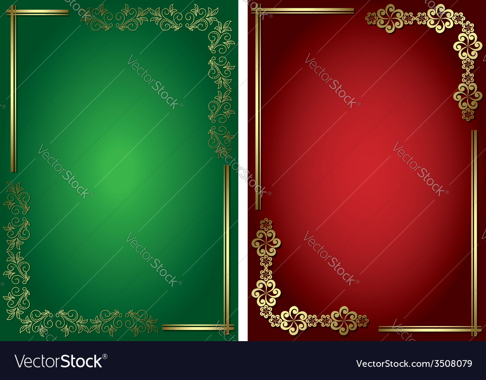 Red and green cards with golden frames vector   Price: 1 Credit (USD $1)