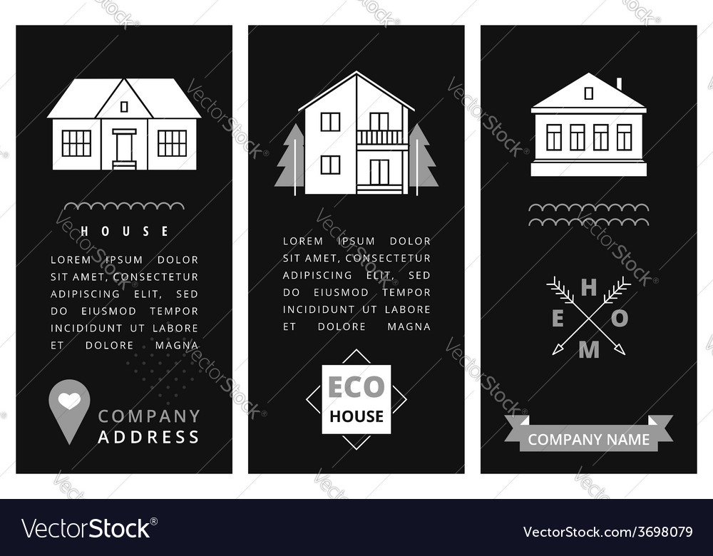 Templates business card with houses vector   Price: 1 Credit (USD $1)