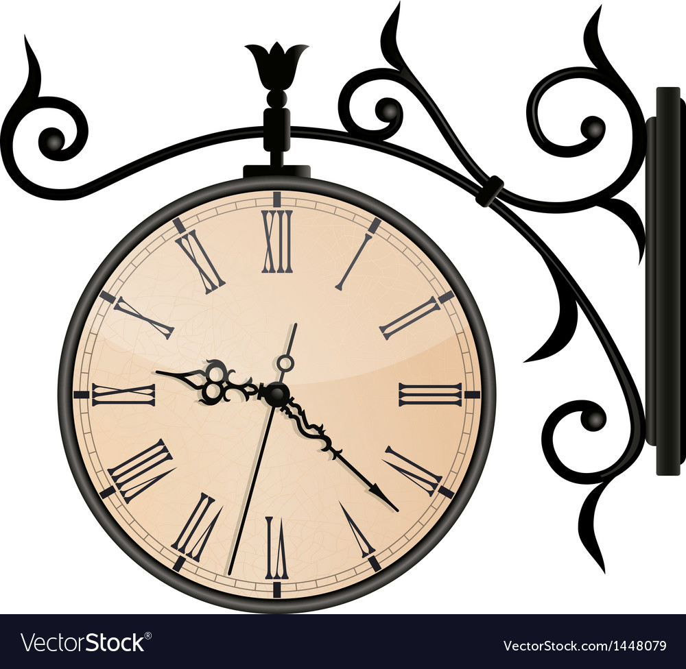 Vintage street clock eps10 vector | Price: 1 Credit (USD $1)